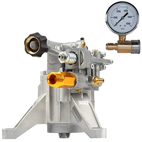 """YAMATIC 7/8"""" Shaft Vertical Pump 3000 PSI with Pressure Washer Gauge"""