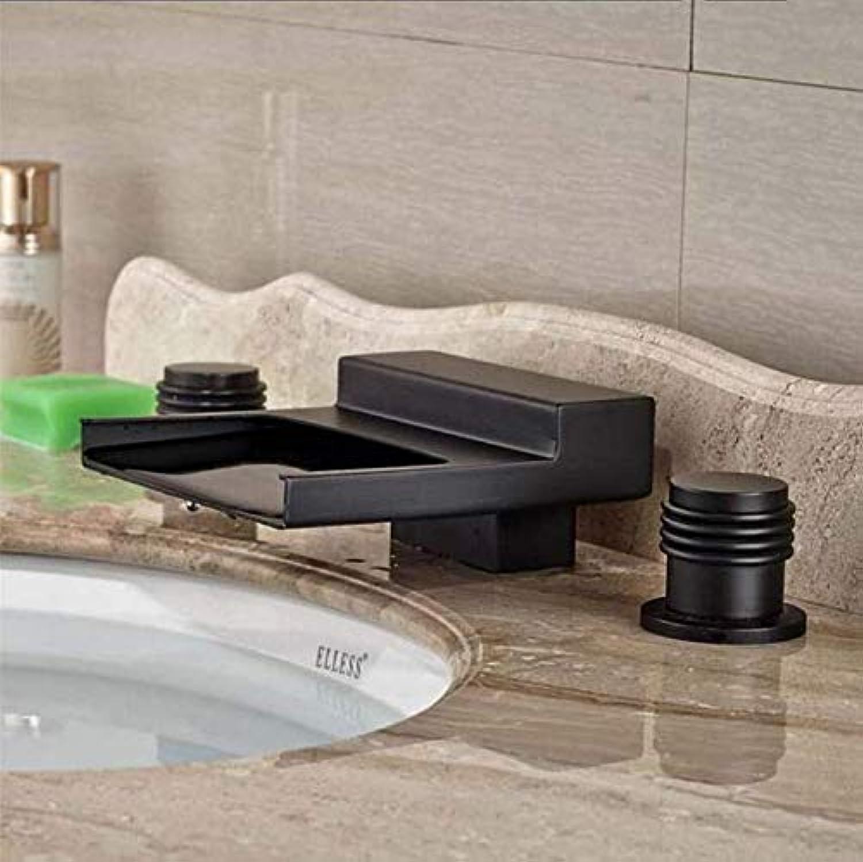 Wasserhahn Badewanne Deck Montiert l Eingerieben Bronze Wasserfall Bad Wasserhahn 3 Lcher Zwei Griffe Mixer