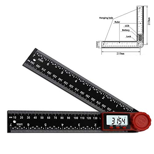 Cemok 0–200/0–300 mm Winkelmesser-Lineal, digitales Winkel-Lineal mit LCD-Display, 360°-Winkelfinder, metrisch und imperial, Winkelmesser-Lineal für Holzarbeiten, Bauarbeiten, Reparaturen