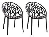 CLP 2er-Set Gartenstuhl Hope Aus Kunststoff I 2 x Wetterbeständiger Stapelstuhl Mit max. 150 KG Belastbarkeit, Farbe:schwarz