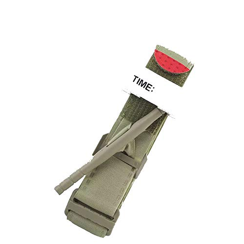 Epic Medical Supply Combat Tourniquet with Emergency Time Strap Quick Release Buckle and One Hand Grip Stick for Self or First Responder Application Tactical Military Survival Gear Khaki