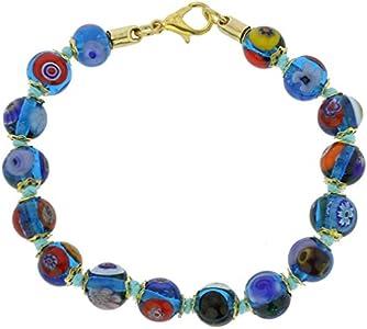 GlassOfVenice Pulsera de mosaico de cristal de Murano, azul transparente