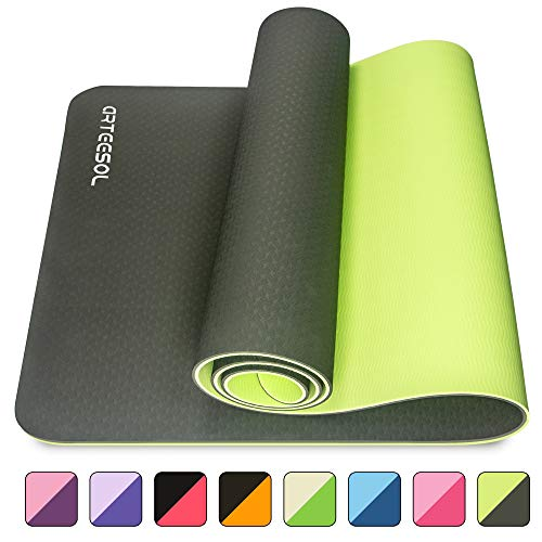 arteesol Yogamatte, 183cm x 61cm x 6mm rutschfeste Große Gymnastikmatte, Reißfest Umweltfreundlich Fitnessmatte mit Tragegurten, Premium für Pilates, Fitness, Frauen und Männer (DarkGreen+Black)