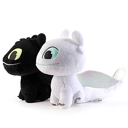 LodeStar 2 PCS / Set Light & Night Fury How to Train Your Dragon Toothless Doll Stuffed Animal Plush Toy for Children (16 cm) (Light & Night).