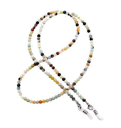 rainbow safety Brillenkette Brillenband Brillenhalter Schlangenkette Natürliche Edelstein Perlen Amazonit Achat Tigerauge Amethyst Süßwasserzuchtperlen Korallen RC (Amazonit)