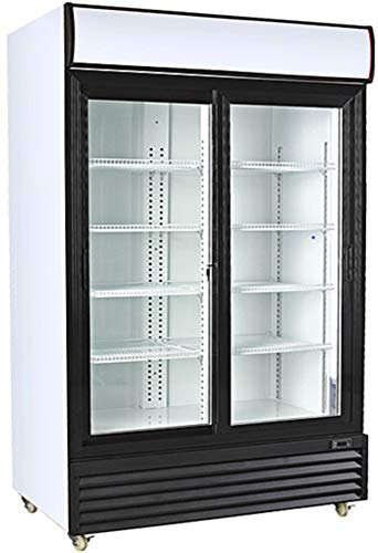Procool Refrigeration Double Sliding Glass 2 Door Upright Display Beverage Cooler Merchandiser; 35 Cubic Ft, 45