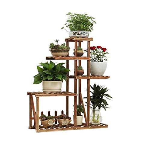 FENGFAN Bloemenrek Plant Stands 5-Tier Massief Hout Bloemenstandaard Opslagplank in Buiten Tuin of Indoor Woonkamer Slaapkamer Balkon en Vloer Staande Potten