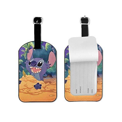 Anime Stitch Etiquetas de Equipaje Maletas Bolsas de Equipaje Correa Ajustable Etiqueta de Equipaje de Cuero para Etiquetas de identificación 1 Piezas para Viajes TAG-550
