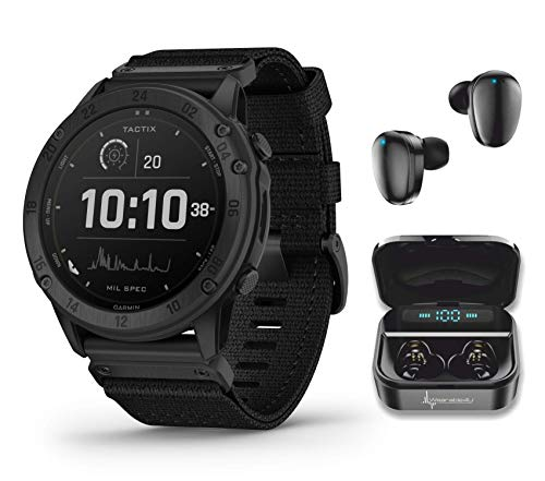 Garmin tactix Delta Tactical Military GPS Smartwatch Solar with Wearable4U Black Earbuds with Power Case Bundle