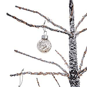 CLASSIC CHRISTMAS DECOR - Includes a set of 6 handmade ornaments in a three elegant shapes. | Ornament height: 3 - 3.5 inches. Ornament diameter: 1 inch. SMALL SIZE - These adorably small ornaments are perfect for display on a tabletop tree QUALITY G...