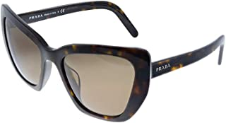 Prada Low Bridge Fit PR 08VSF 2AU8C1 Havana Plastic Cat-Eye Sunglasses Brown Lens
