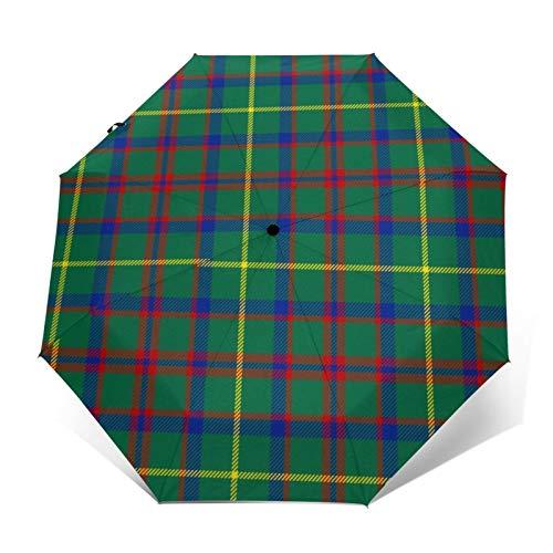Macintosh - Paraguas plegable resistente al agua, diseño de tartán de caza a prueba de viento y paraguas plegable automático de tres pliegues