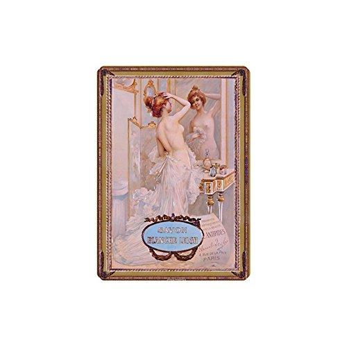 Editions Clouet 29183 - Petite Plaque métal 15x21 cm Savon Blanche Leigh - Miroir