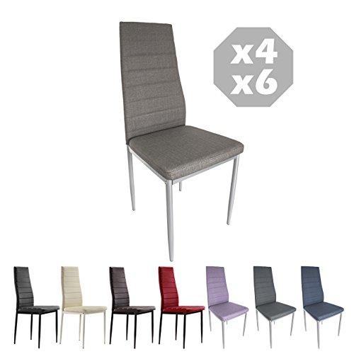 MOG CASA - Conjunto de 2, 4 o 6 sillas de Comedor con Patas metálicas y tapizadas de Piel sintétic