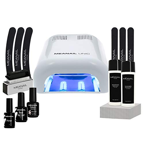 Nagelstudio Basis-Set komplett für Anfänger by Meanail® Paris WHITE Edition • Maniküre + Pediküre • inkl. Naildesign Zubehör• 1 UV LED Lampe für Nägel / Gelnägel 36 W• 6x UV GEL Nagellack • Nailart • Vegan&Cruelty free