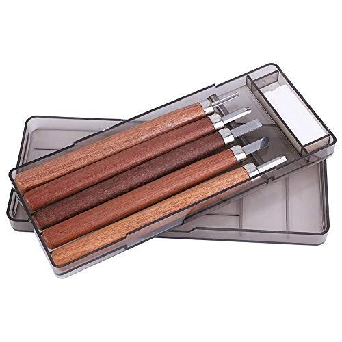 Houtsnijgereedschapsset van rozenhout met een hoog koolstofgehalte met slijpsteen voor beginners en professionals 5Pcs