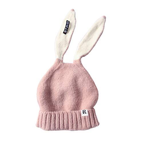 DIY- 2019 Kids Meisje & Jongen Baby Winter Warm Gebreide Leuke Konijn Lange Oor Beanie Hoed 2019 Herfst Hoeden Cap roze