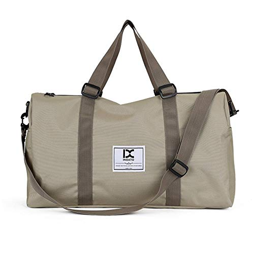 HXXBY Fashion outdoor trolley luggage bag for business travel, one-shoulder messenger bag, large-capacity men's multi-purpose handbag (Color : Khaki)