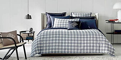 Tommy Hilfiger - Juego de funda nórdica para cama de matrimonio de satén y 2 fundas de almohada excluidas sábana bajera (Sartorial OFF 31)