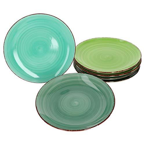MamboCat 6er Green Baita Frühstücks-/Dessert-/Gebäckteller grüner Landhausstil I Ø 19,5 cm I Kuchenteller I Rustikale Optik I Steingut