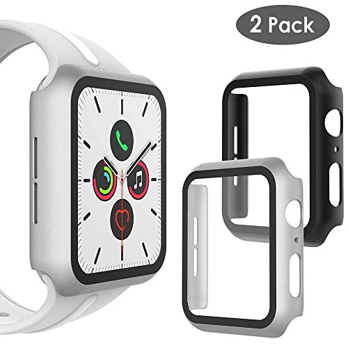 WD&CD (2 Pack Case Compatible with Apple Watch Series 5 Series 4 40mm, Buit-in Ultra Thin HD Tempered Glass Screen Protector Protective Cover Replacement for iwatch Series 5/4, Black & Silver
