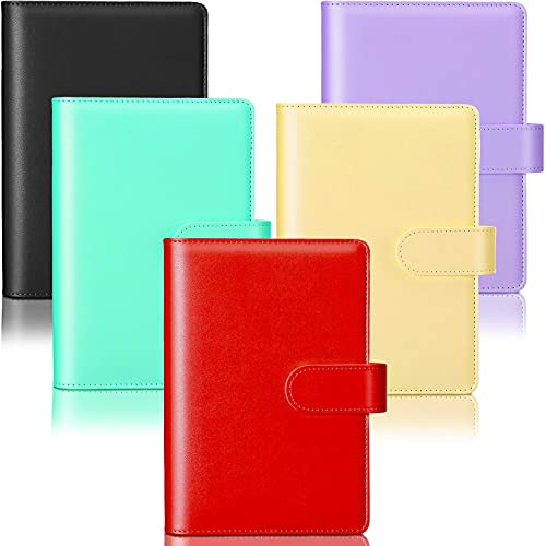 5 Pieces A6 PU Leather Notebook Binder Refillable 6 Rings Binder Cover Loose Leaf Personal Planner with Magnetic Buckle Closure, Blue, Purple, Pink, Green, Yellow Red, Black, Purple, Green, Yellow