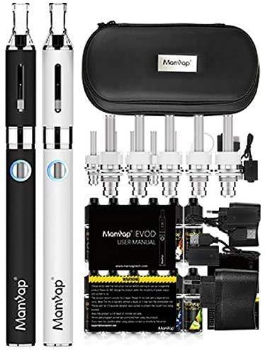 Elektronische Zigarette E Zigarette Starterset,E Shisha Doppelset: 2x EVOD 1100mAh Akku+2x Mini Protank Verdampfer+5x Extra Verdampferköpfe,kein Nikotin (WH)