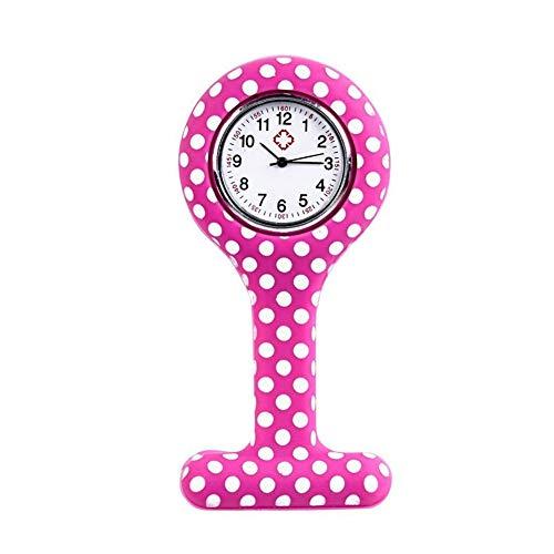 Hieefi Broche De Bolsillo De Silicona Reloj De Bolsillo Reloj De La Enfermera T Forma De Lunares Analógica Reloj Reloj De Cuarzo Clip Médico Enfermera del Reloj