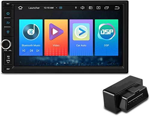 7 'Android 10 Reproductor de radio estéreo para automóvil Navegación GPS DSP incorporado CarAutoPlay Admite RCA completo Bluetooth 5.0 1080P DVR DAB + OBD TPMS Universal (Unidad principal + Dongle US