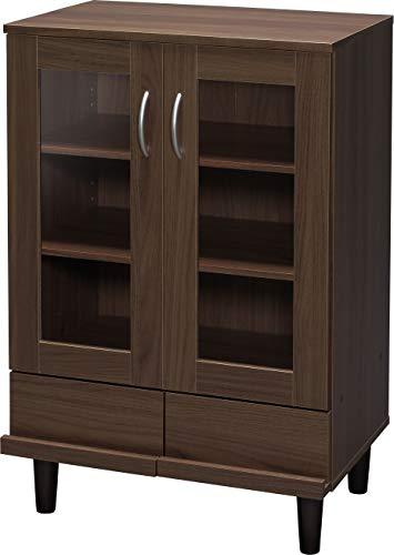 Marque Amazon - Iris Ohyama Kitchen Cabinet KPB-9360 Vaisselier/Buffet 2 tiroirs et 3 étagères avec portes vitrées en bois MDF, Engineered Wood, Chêne Brun