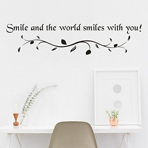 SMILEQ - Adhesivo Decorativo para Pared, diseño de Sonrisa, A, Large