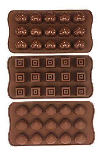 Bucanero Silikonform Herzchen Muscheln Würfel - Pralinenform Silikon - für Schokolade Bonbons Eiswürfel Zuckerguss Praline - Schokoladenform Eiswürfelform (3er Set Herz Muschel Würfel - 45 Pralinen)