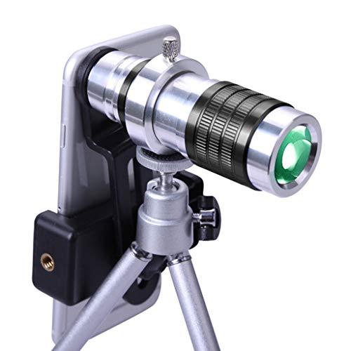 JXJJD Teleobjetivo Universal de telefonía móvil con cámara de un Solo Tubo telescopio HD 12 Veces Alta teleobjetivo Lente de teléfono móvil grabación de Video