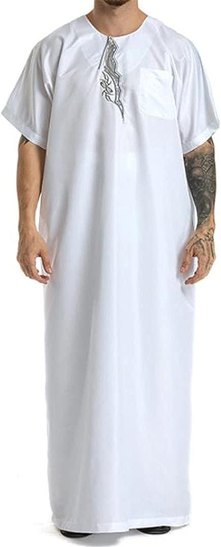 XINDSJDS Muslim Abaya for Men Jubba Thobe Middle East Long Robes Kaftan Arab Dubai Moroccan Long Sleeve Caftan