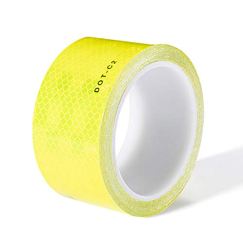 Reflective Tape Waterproof DOT-C2 Intensity Fluorescent Yellow Tape, Adhesive Conspicuity Reflector Tape for Bikes,Trailers, Trucks, Cars, Signs, Helmets (2 Inch x 20 Feet)-Cinta Reflectora