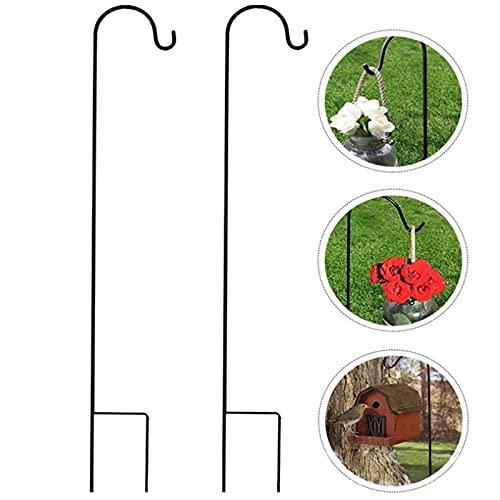 Gancio per pastore da giardino, XVZ Paletto da giardino in metallo da 120cm con gancio, per fioriera di fiori, casetta per uccelli, lanterne, luci da giardino, decorazioni per matrimoni (2 Nero)