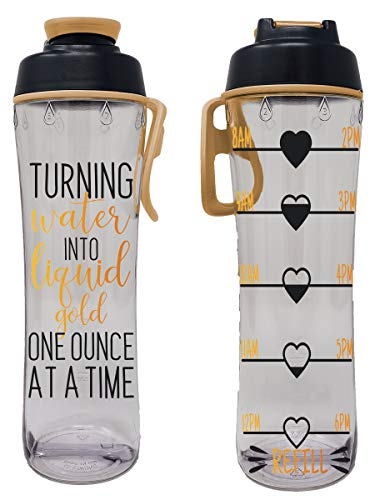 24 oz. BPA Free Reusable Water Bottle with Time Marker - Motivational Fitness Bottles - Hours Marked - Drink More Water Daily - Tracker Helps You Drink Water All Day - Made in USA (Liquid Gold)