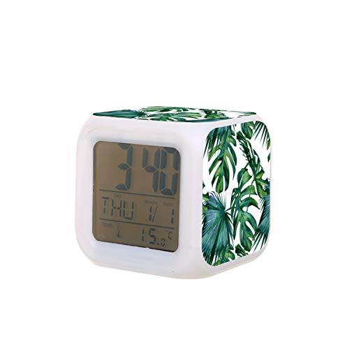 Klassischer Wecker mit tropischem Dschungel-grünen Drucken, elektrischer Wecker mit Nachtlicht, Schlaf-Timer, Alarmfunktion, Temperatur-Erkennung mit 7 Farben von Lichtern