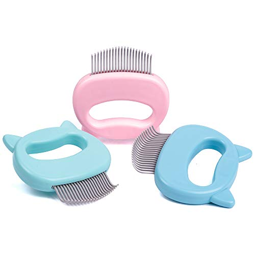 Leo's Paw The Original Pet Hair Removal Massaging Shell Comb Soft Deshedding Brush Grooming and Shedding Matted Fur Remover Dematting tool for Long and Short Hair Cat Dog Puppy Bunny (Pink)