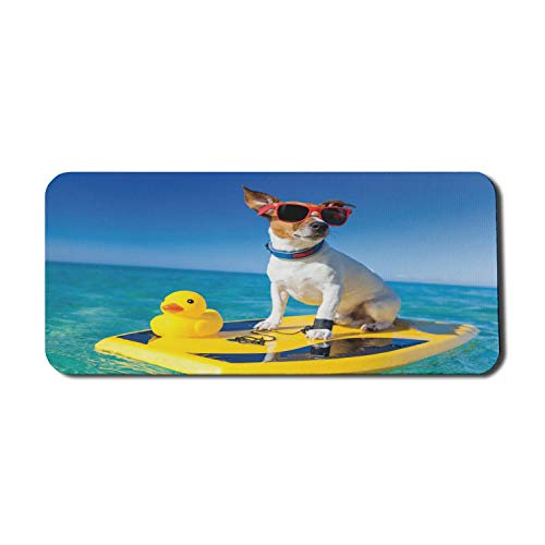 Rubber Duck Computer Mauspad, Hund Sonnenbrille auf Surfbrett bei Ocean Shore Fun Summer Season Theme, Rechteck rutschfeste Gummi Mousepad X-Large Gaming Größe, blau gelb