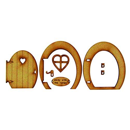 Rabuet Juego de decoración para puerta de madera de cuento de hadas, casa de muñecas en miniatura, muebles, 3D, artesanía, adornos para patio exterior