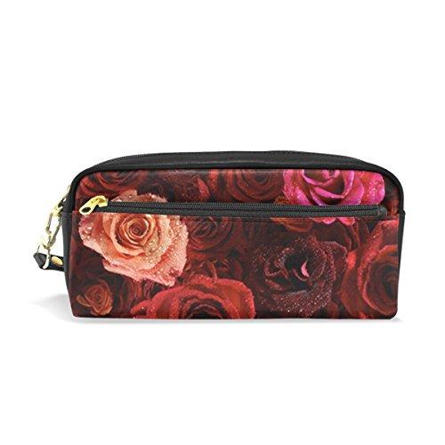 Isaoa Grande contenance Trousse et sac de stylo Cuir PU roses avec fermeture Éclair Dewdrop papeterie Fournitures Trousse à crayons Comestic Sac de maquillage pour filles et garçons