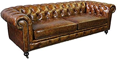 Amazon.com: Hooker Furniture Chester Stationary Leather Sofa ...