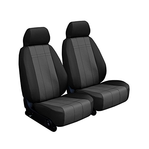 Front Seats: ShearComfort Custom Imitation Leather Seat Covers for Toyota Tacoma (2016-2020) in Black w/Charcoal for Buckets w/Adjustable Headrests