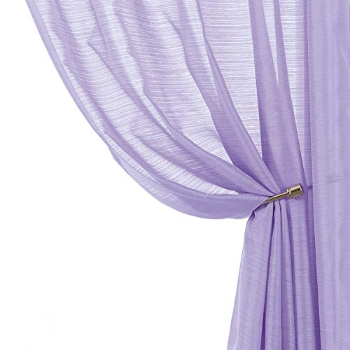 Lilac Sheer Curtains for Girls's Room 84-inches Slub Textured Window Curtain Panels for Bedroom Living Room Rod Pocket 2 Pack