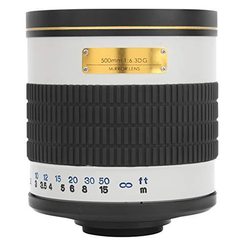 Zunate Lente de cámara, Lente de Enfoque Manual con Espejo superteleobjetivo de Gran Apertura de 500 mm F6.3, para Minolta/cámara DSLR con Montura AF de para Sony, con Anillo Adaptador(Blanco)