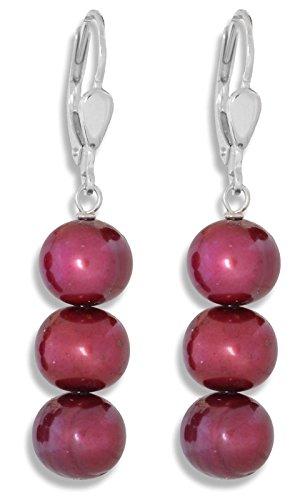 ERCE perlas de agua dulce pendientes color rojo cereza, plata de ley 925