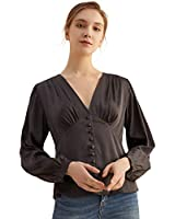 Women's V Neck Blouses Satin Silk Button Down Shirts Lantern Long Sleeve Fitted Waist Solid Blouse Tops for Work Party Black