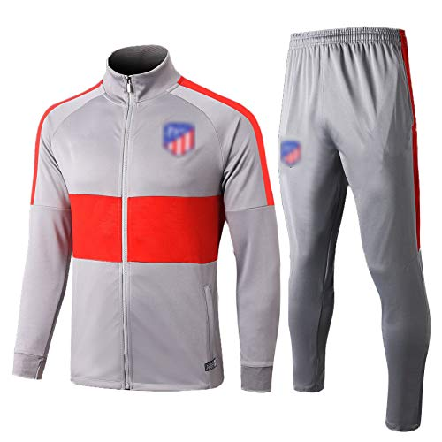 QWW 19-20 Atléticǒ MàDrid Football Training Anzug Jersey Trainingsanzüge Fall/Winter High Hals Langarm Set Training Atmungsaktives und Schnelltrocknungen (S-2XL) Light Gray-L