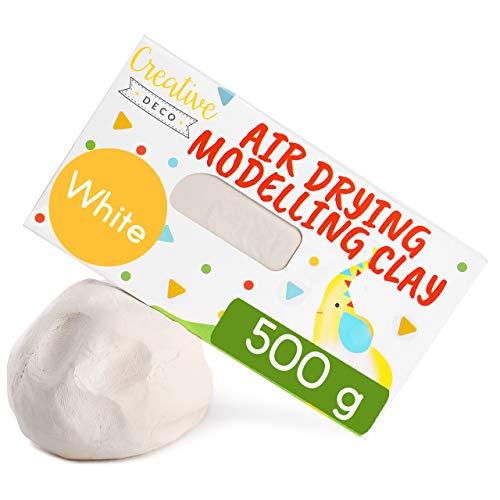Creative Deco Weiß Modelliermasse Lufttrocknender Modellierton | 500g Knete | Selbsttrocknend Clay für Kinder und Erwachsene | Perfekt für Bastelarbeiten | Nicht Klebender Ton